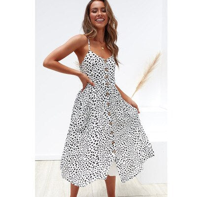 Women Summer Dress 2019 Boho Sexy Spaghetti Straps Floral Beach Dress With Pocket Midi Button Backless Sundress Female Vestidos