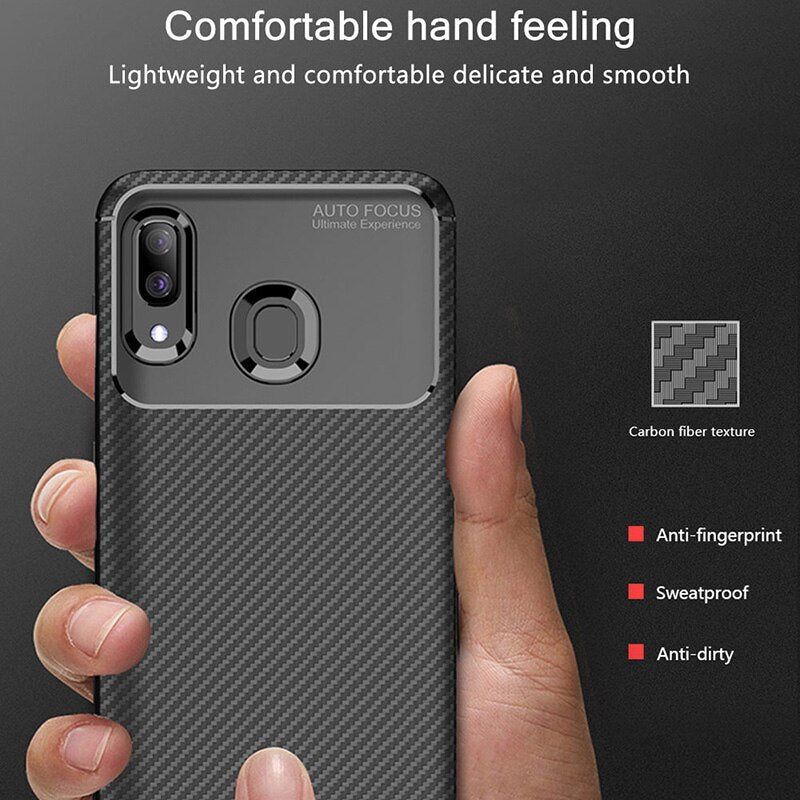 Raugee Case For Samsung A40 Case Cover Luxury Carbon Fiber Bumper Soft TPU Silicon Phone Case For Samsung Galaxy A40 A50 A20 A30