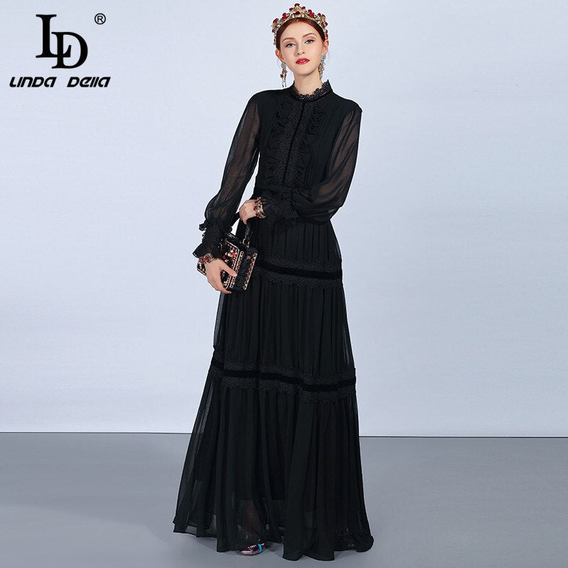 LD LINDA DELLA Fashion Runway Maxi Dresses Women's Long Sleeve Lace Patchwork Ruffles Vintage Black Dress Elegant Party Dress
