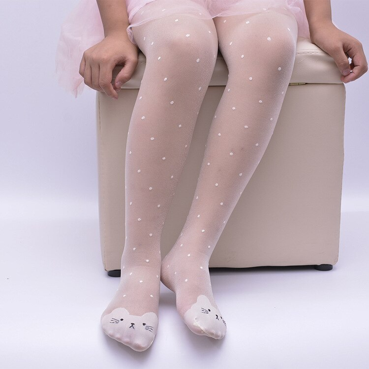Spring Summer Tights For Girls Cartoon Thin Silk Pantyhose Kids Candy Color Dot Dance Stocking Child Girls Tights With Cats