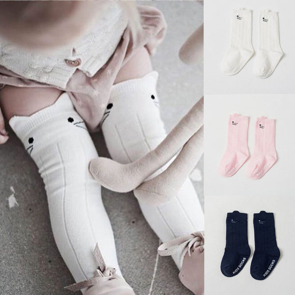 2019 Children Accessories Cartoon Cotton Baby Kids Girls Toddler Knee High Stockings Tights Cats Cartoon Stockings 0-4T