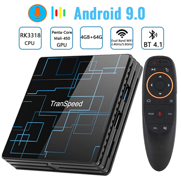 Transpeed Android 9.0 TV BOX 4G 64G Google Voice Assistant RK3318 4K 3D Ultra TV Wifi Bluetooth Play Store Top Box