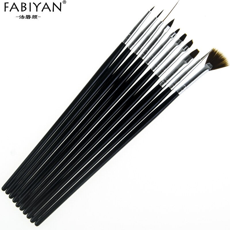 10Pcs Nail Art Brush Liner Dotting Fan Design Acrylic Builder Flat Crystal Painting Drawing Carving Pen UV Gel Manicure Tool Set