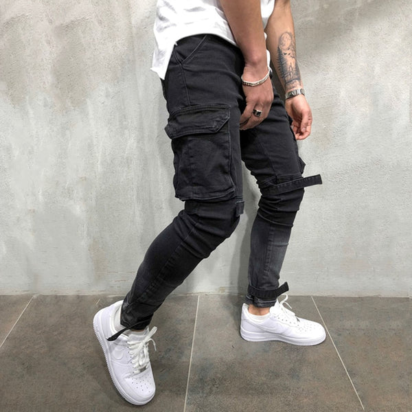 OLOME Brand New Men Multi-pocket Biker Jeans Male Slim Cargo Joggers Trousers for Mens Black Color Streetwear Swag Denim Pants