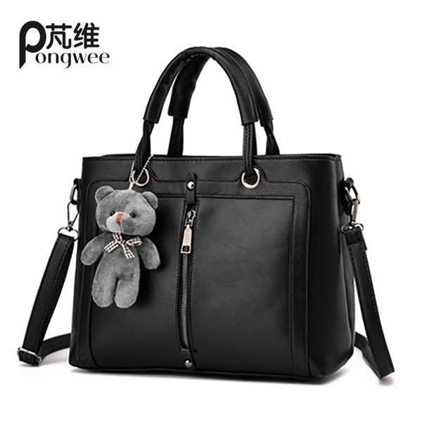 PONGWEE High Capacity Women High quality PU Bag Luxury Red Retro Vintage Bag Designer Handbags Cute Bear  Tote Shoulder Ladies