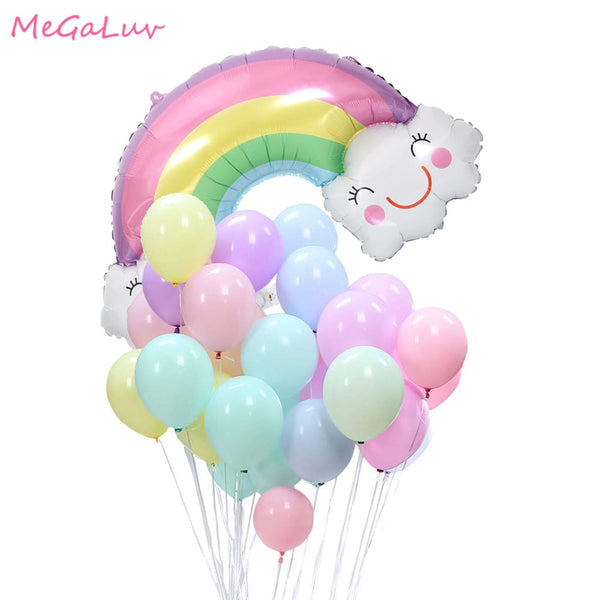 Rainbow Cloud Ballons Macarons Balloons Birthday Pastel Party Candy Balloons Unicorn Party  Baby Shower Wedding Decorations