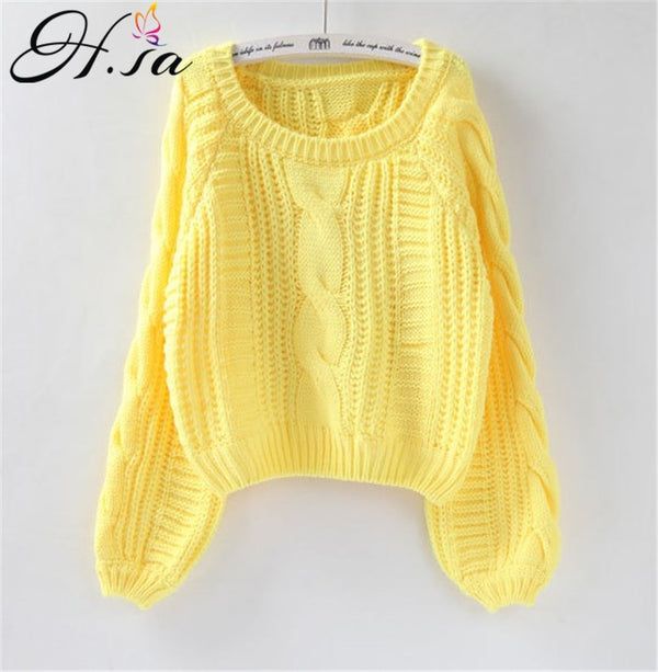 H.SA Roupas femininas Women Pull Sweaters 2020 New Yellow Sweater Jumpers Candy Color Harajuku Chic Short Sweater Twisted Pull