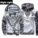 Venom Hoodies Men Movie Night Glow Hooded Sweatshirts Harajuku Coat Winter Thick Fleece Jacket Cool Noctilucent Streetwear