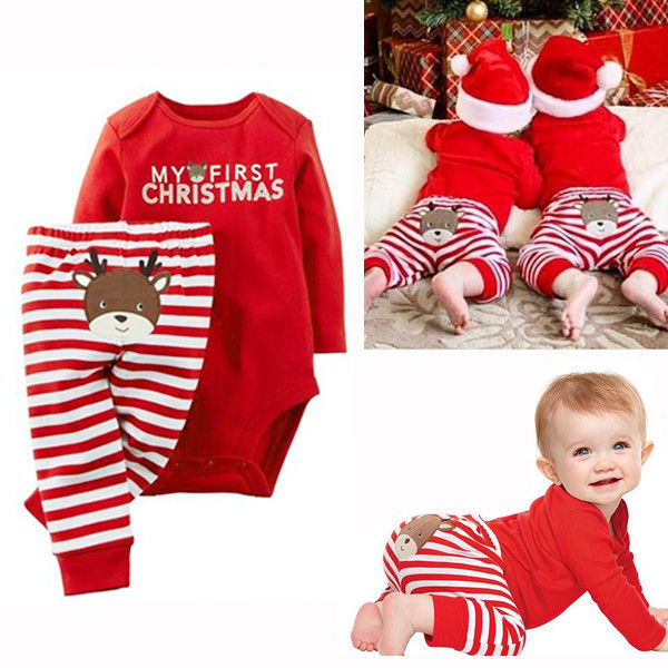 Christmas Newborn Baby Girls Boys clothes 2pcs set Tops Romper Pants Outfits long sleeve baby clothing sets 0-18M