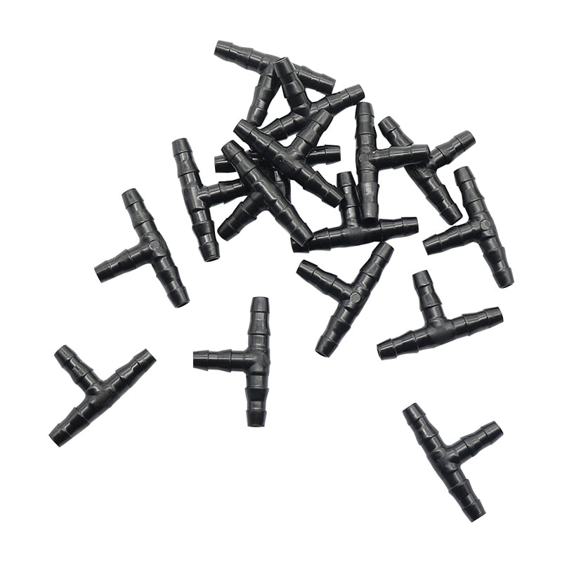 50 Pcs Sprinkler Irrigation 1/4 Inch Barb Tee Water Hose connectors Pipe Hose Fitting Joiner Drip System for 4mm/7mm Hose
