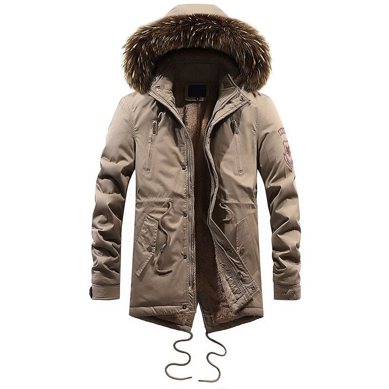FGKKS Thick Warm Men Parka Winter Man Jackets Coats Hooded Stand Collar Fashion Slim Outwear Parka Coat Male