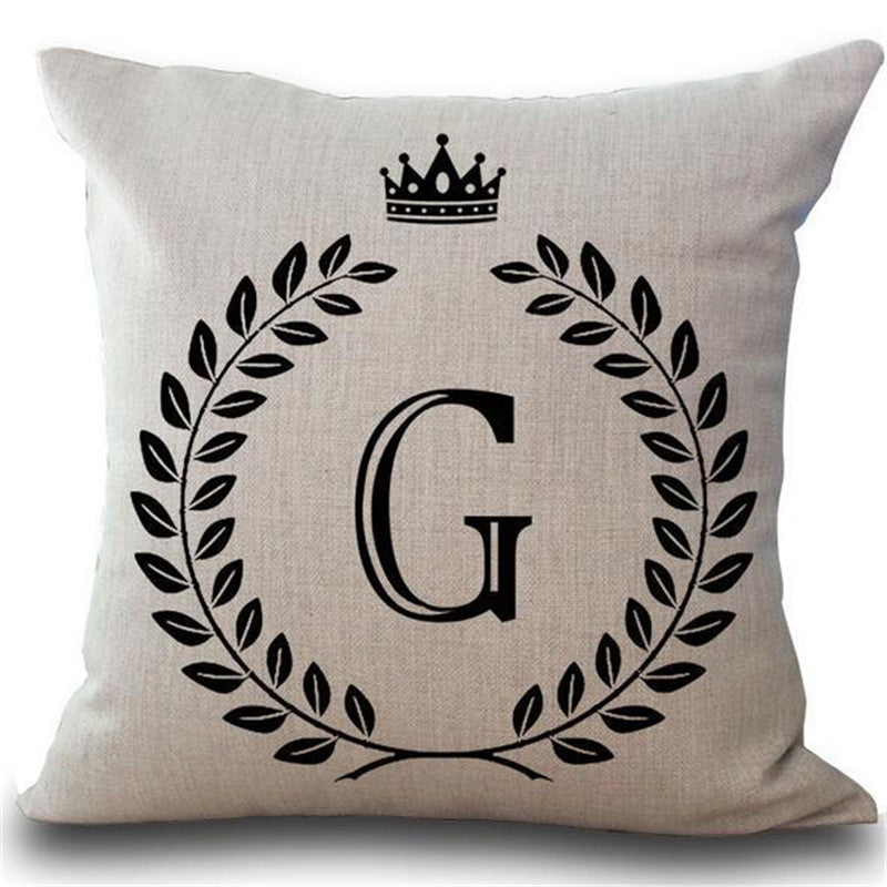 1Pcs Crown Letter 43*43cm Cotton Linen Throw Pillow Cushion Cover Car Home Decoration Sofa Decor Decorative Pillowcase 40166