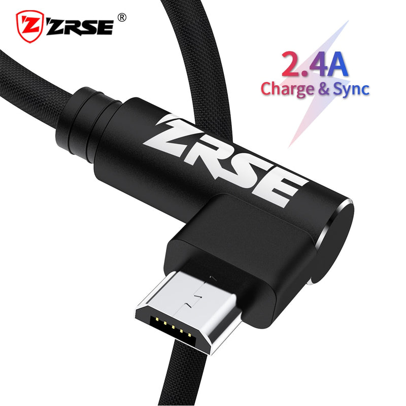 ZRSE Micro Usb Cable For Samsung S7 Huawei Xiaomi Redmi 2M 3M Fast Charging Data Sync USB Cable 90 Degree Elbow Charger Cord