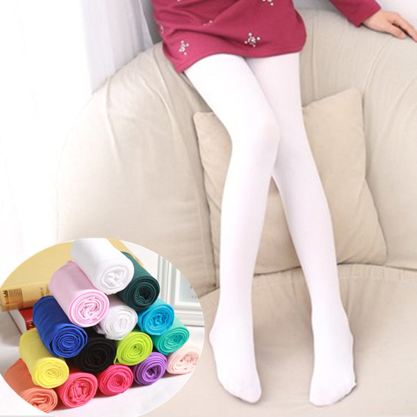 2018 Spring Candy Color Kids Pantyhose Ballet Dance Tights for Girls Stocking Children Velvet Solid White Pantyhose Girls Tights