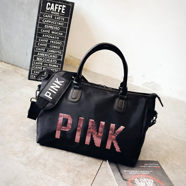 Women Sequins Fashionable Portable Travel Bags Large Capacity Training Luggage Bag weekend duffel bag bolso mujer grande pink