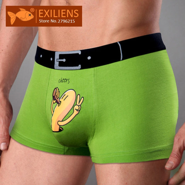 EXILIENS Brand New Mens Underwear Boxer Modal Homme Boxershorts Men Boxers Sexy Male Underpants Print Cartoon Size M-3XL 093001