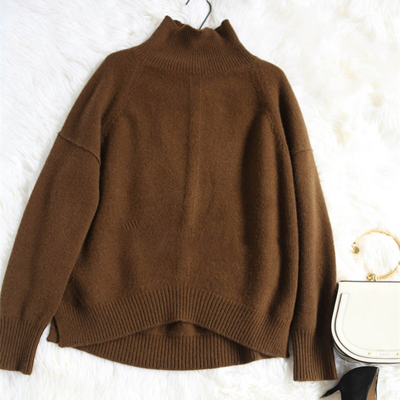 BELIARST Autumn and Winter New Cashmere Sweater Women's High-Necked Pullover Loose Thick Sweater Short Paragraph Knit Shirt