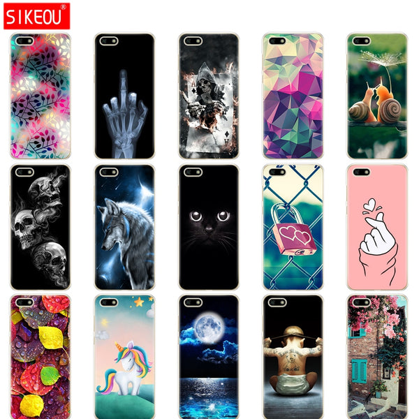"Silicone case For Huawei Honor 7A Case 5.45"" inch Soft Tpu Phone Huawei Honor 7A 7 A DUA L22 Russian version Back Cover bag Cat"
