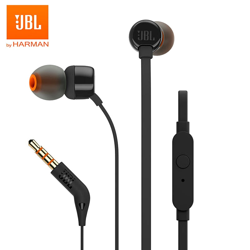 JBL T110 3.5mm Wired Earphones Stereo Music Deep Bass Earbuds Headset Sports Earphone In-line Control Hands-free with Microphone