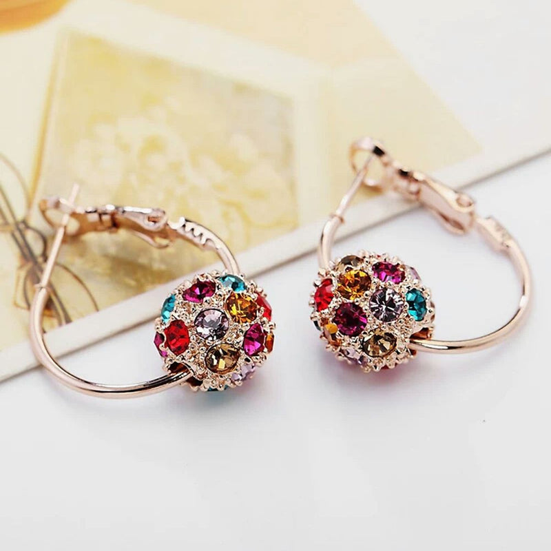 Fashion Austrian Crystal Ball Gold/Silver Earrings High Quality Earrings For Woman Party Wedding Jewelry Boucle D'oreille Femme