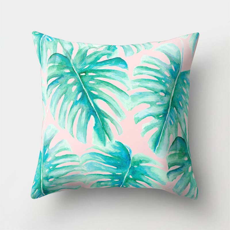 Sofa Decorative Cushion Cover Tropical Plant Leaf Pillow Pillowcase Polyester 45*45 Throw Pillow Home Decor Pillowcover 40506-X