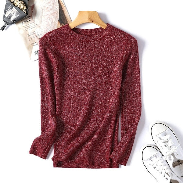 Autumn Winter Women Beaded Sweater 2019 O-Neck elegant sweater Jumper Top Loose Casual Warm Femme Sweater knitting bottom shirt