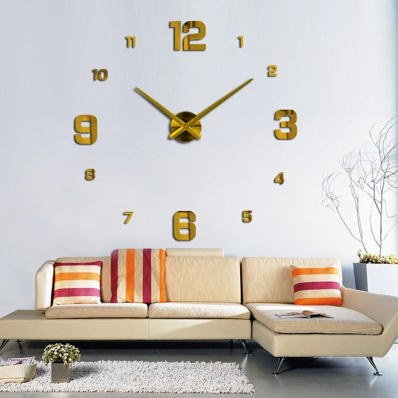 2020 modern design rushed Quartz clocks fashion watches mirror sticker diy living room decor new arrival 3d real big wall clock