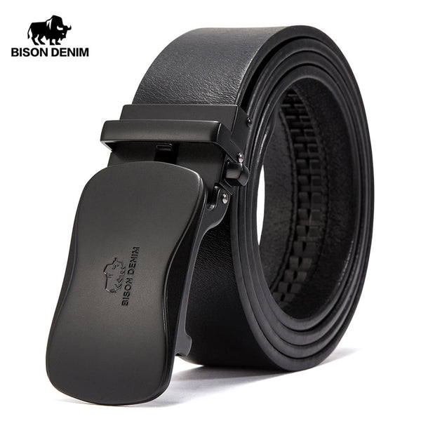 BISON DENIM Luxury Leather Belt Men Automatic Buckle Genuine Leather Strap Brand Waistband Cowhide Belts For Men N71345