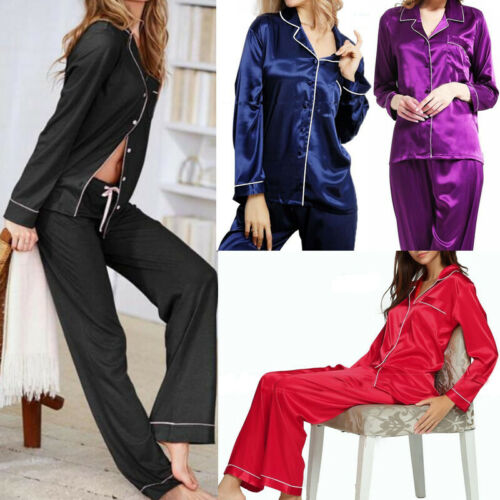 Stylish Autumn Women's Solid Pajamas Sets Button Long Sleeve Loose T-shirt Top and Silk-like Satin High-waist Long Pants S-XL