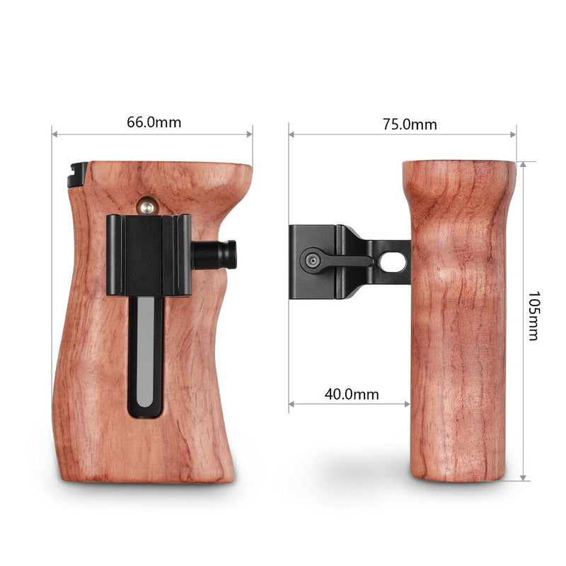 SmallRig QR Quick Release Camera Video Handle Grip Stabilizer Universal Wooden Nato Side Handle with Cold Shoe Mount 2187