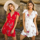 Woman's dress Summer Boho Sexy Dress Ladies robe femme Beach Party Sundress Fashion Vintage print Floral V-neck Dress vestidos
