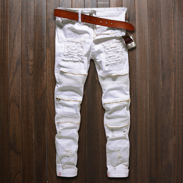 Skinny jeans men White Ripped Knee zipper Fashion Casual Slim fit Biker jeans Hip hop destroy Stretch Denim pants Motorcycle