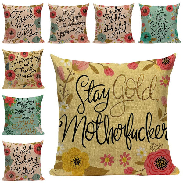 Flowers and Letters Cushion Cover Home Decor Pillow Cover for Sofa Romantic Valentine Day Gift Pattern Pillowcase Seat Cushions