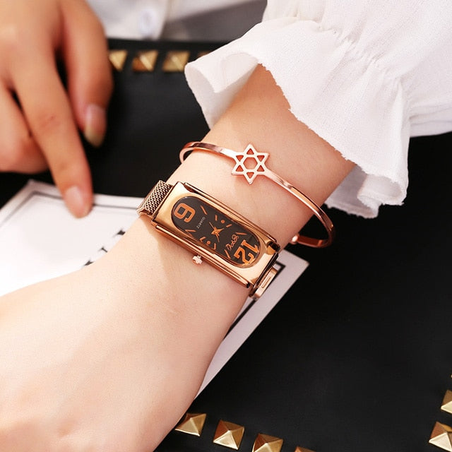Luxury Ladies Dress Watch Rose Gold 2019 New Fashion Casual Diamond Watch Female Wrist Watches Steel Magnetic Mesh Women Clock