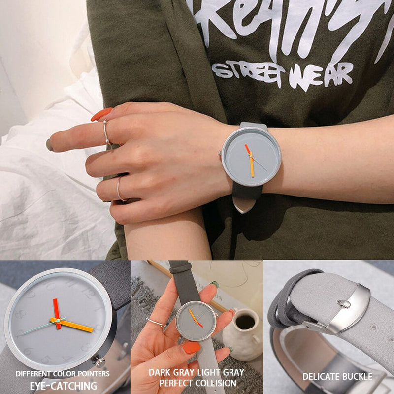 Women Watch Gray Contrast Leather Quartz Watch Women Men Watches Lovers Unisex Casual Ladies Wrist Watch Clock Relogio Feminino
