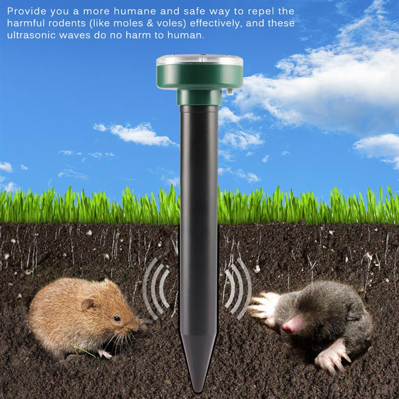 4pcs Solar Powered Ultrasonic Sonic Mouse Mole Pest Rodent Repeller Repellent Yard LED Light Repeller Outdoor Lamp Yard Garden