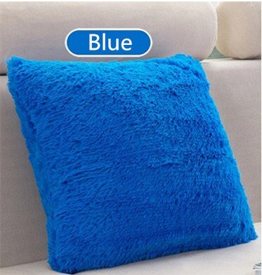 "40x40cm/15.75x15.75"" Solid Cushion Cover Long Plush Decorative Throw Pillow Cover Seat Sofa Embrace Pillow Case Home Decor"