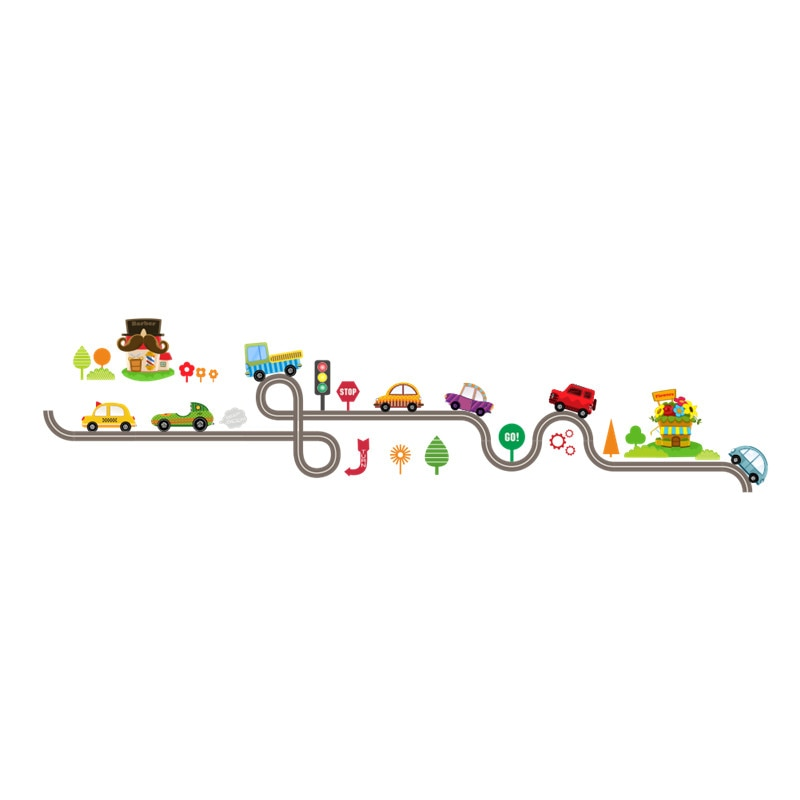 Cartoon Cars Highway Track Wall Stickers For Kids Rooms Sticker Children's Play Room Bedroom Decor Wall Art Decals