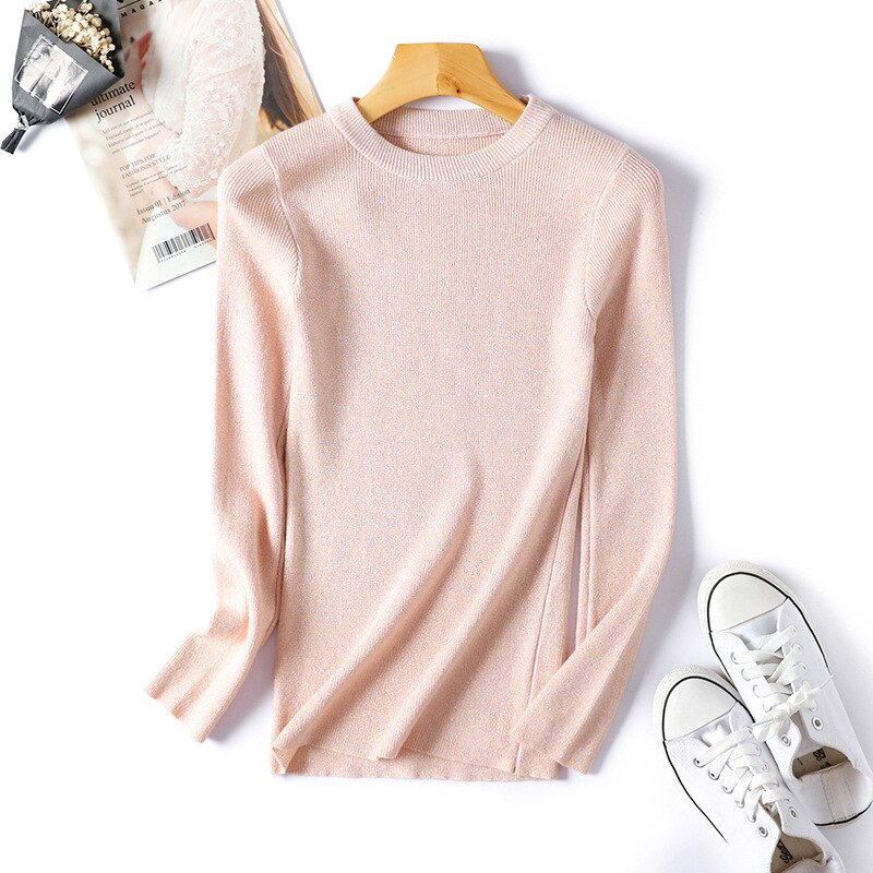 Womens Sweaters 2020 Winter Shiny Lurex Autumn Winter Sweater Women Long Sleeve Pullover Women Tops Basic Christmas Sweater Pull