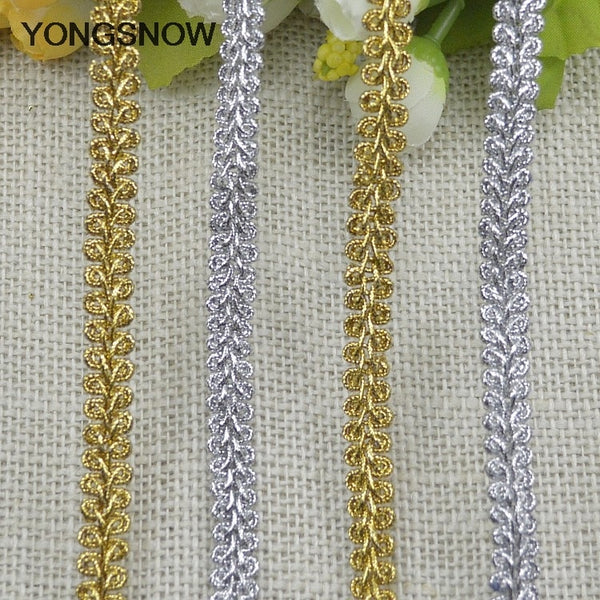 5m Gold Silver Lace Trim Ribbon Curve Lace Fabric Sewing Centipede Braided Lace Wedding Craft DIY Clothes Accessories Home Decor
