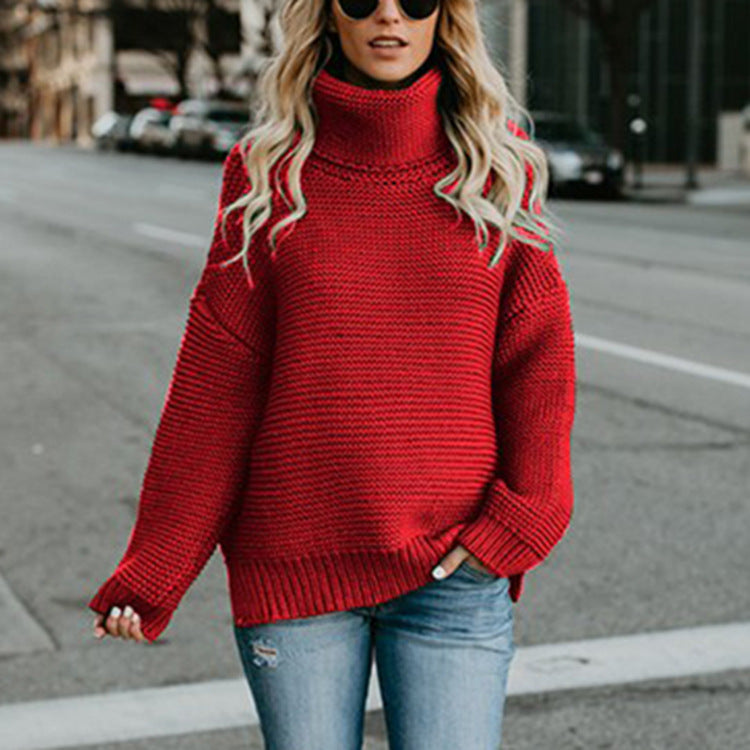 Danjeaner Women Retro Turtleneck Knitted Long Pullovers Autumn Winter Casual Loose Solid Sweaters Thick Knitting Jumper Pull