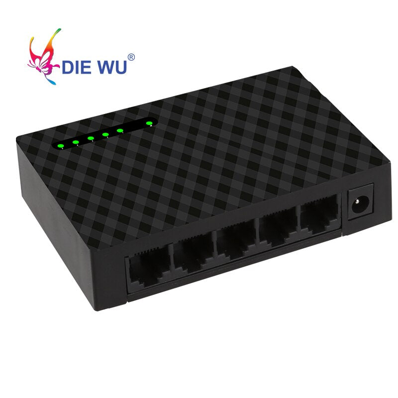 DIEWU 5 Port Gigabit Fast Ethernet Switch 10/100/1000Mbps Network switch adapter US EU plug