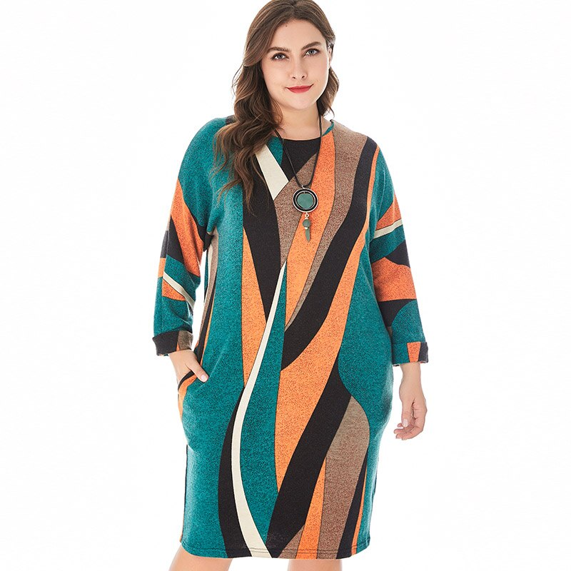Miaoke 2019 autumn Womens Plus Size Club Knit dress High Quality Fashion Ladies Vintage Elegant office Midi Mom fall dresses