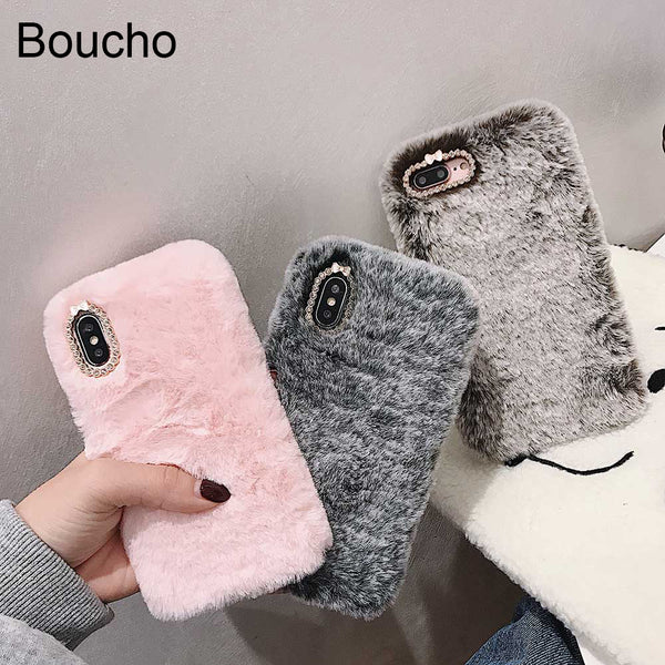 Fashion Lady Case for iPhone XS Max XR X 11 Pro Gift TPU Case Furry fluffy Warm Cover for iPhone 6 6S 7 8 Plus Soft Phone Case