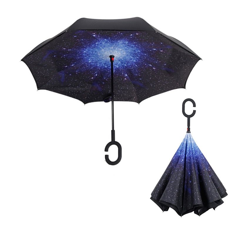 C Handle Windproof Reverse Folding Umbrella Man Women Sun Rain Car Inverted Umbrellas Double Layer Anti UV Self Stand Parapluie