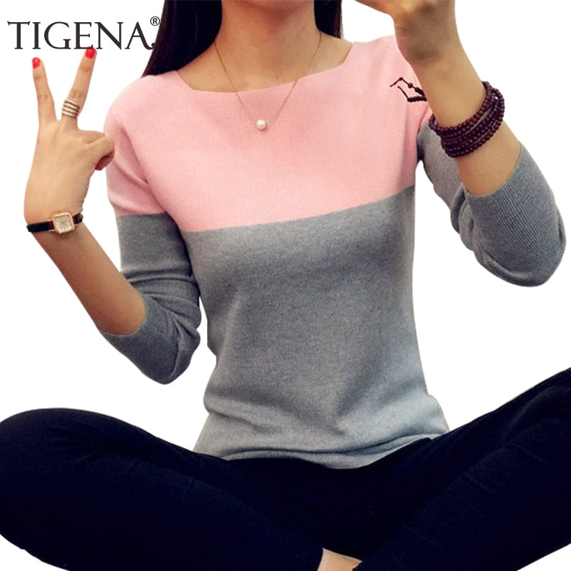 TIGENA Autumn Winter Sweater Women 2019 Knitted High Elastic Jumper Women Sweaters And Pullovers Female Black Pink Tops Ladies