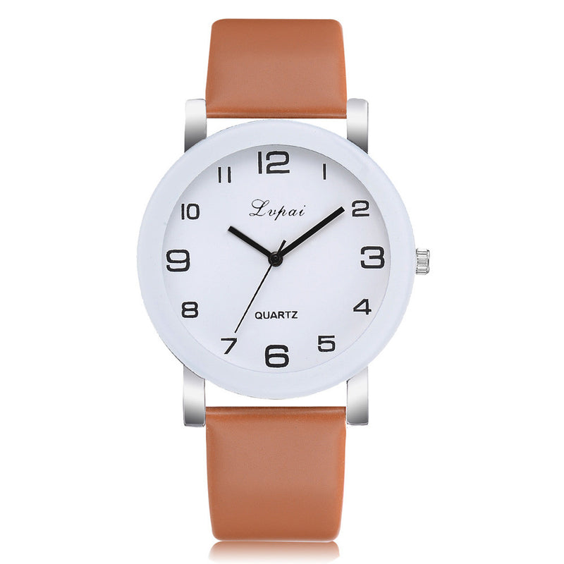 LVPAI Woman's Watch Fashion Simple White Quartz Wristwatches Sport Leather Band Casual Ladies Watches Women Reloj Mujer Ff