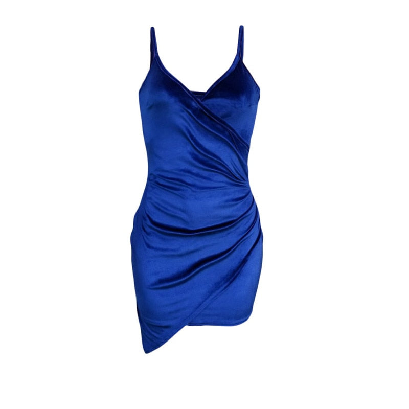 Party Dress Women Sexy Velvet Bodycon Nightdress Backless V-Neck Midi Charm Irregularity Hem Royal Blue Elegant Ladies Vestidos