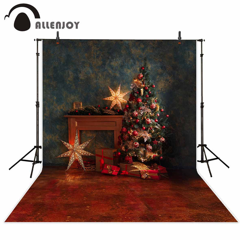 Allenjoy photo background star Christmas tree star vintage interior new year photography backdrops photophone photocall