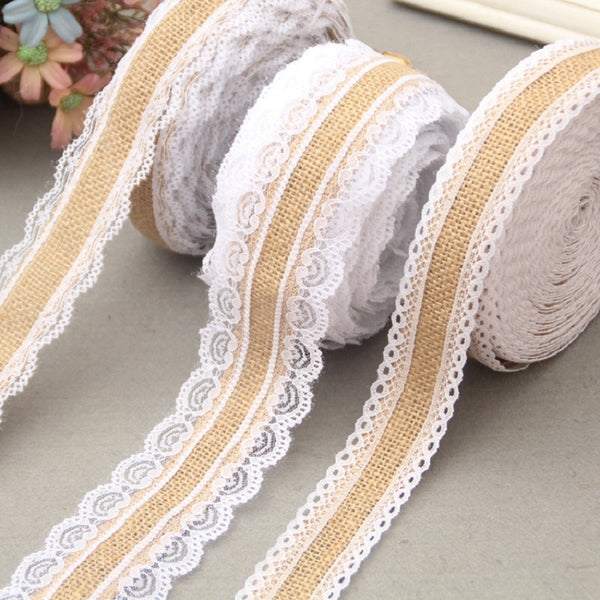 2Meter/Lot 25mm Natural Jute Burlap Hessian Lace Ribbon with White Lace Trim Edge Rustic Vintage Wedding Centerpieces Decor